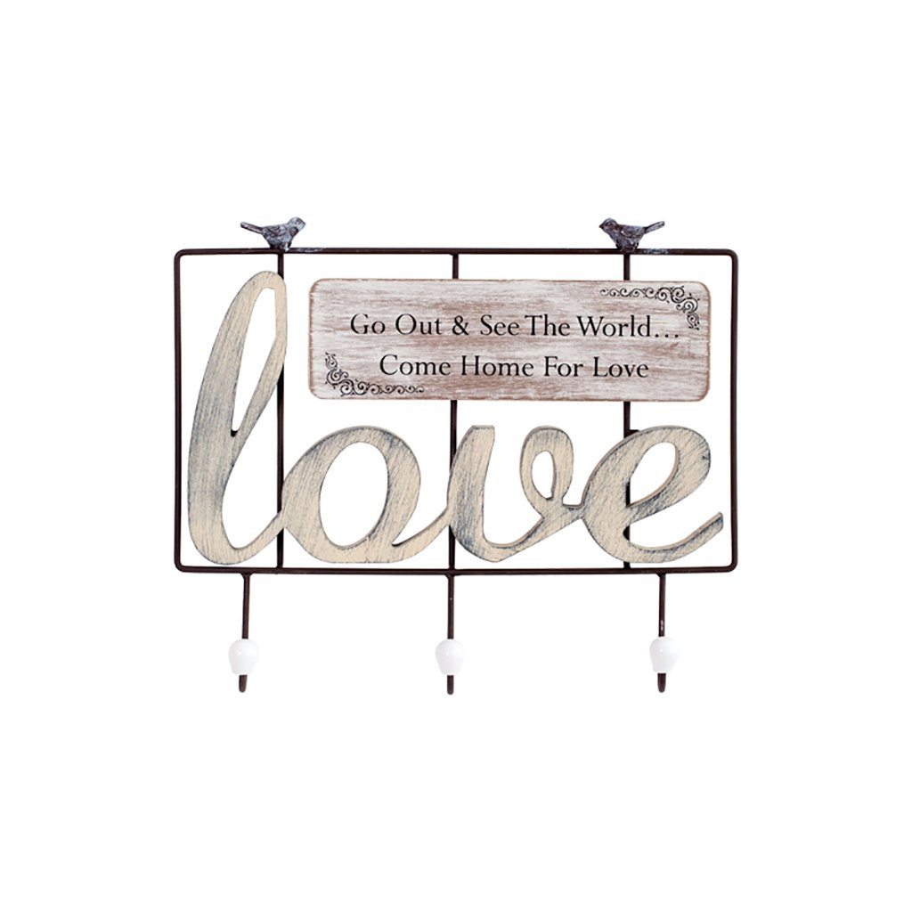 LXLA-Coat rack Hangers Hanger Wall-mounted Hook Up Iron Metal On the Wall (Available 3 And 4 Hooks, 42 6 30cm) (Color : Love)