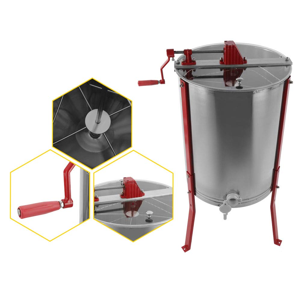 GOTOTOP Acero Inoxidable Manual 4 Marcos Extractor de Miel de Abeja Centr/ífuga de Miel para Apicultor