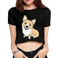 3cb74829ec6a7 Corgi Cute Womens Summer Short Sleeve Crop Top Tee Shirts