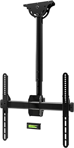 Promounts Apex Full Motion TV Ceiling Mount Bracket for 24-55 TVs up to 110 lbs, VESA from 200×200 to 400×400 with Bubble Level, Adjustable Height, 180 of Rotation, UC-PRO210 , Black