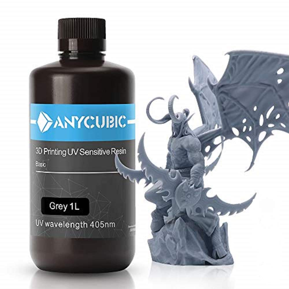 ANYCUBIC 3D Printer Resin, 405nm SLA UV-Curing Resin with High Precision and Quick Curing & Excellent Fluidity for LCD 3D Printing - 1L/Grey