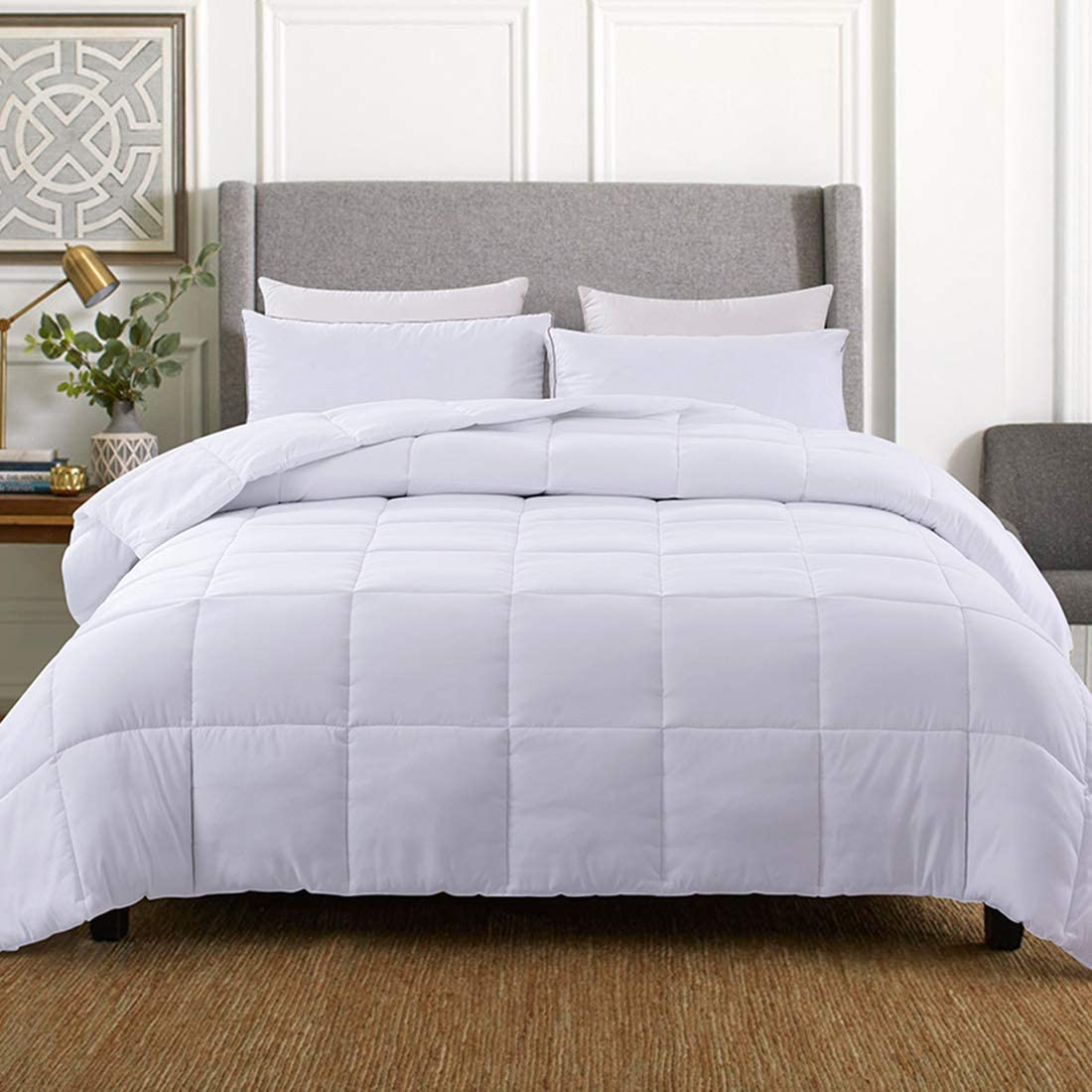 WhatsBedding White Down Alternative Comforter Double Sided/Lightweight/Box Stitched - All Season Duvet Insert-Stand Alone Comforter - Twin Size(64×88 Inch)