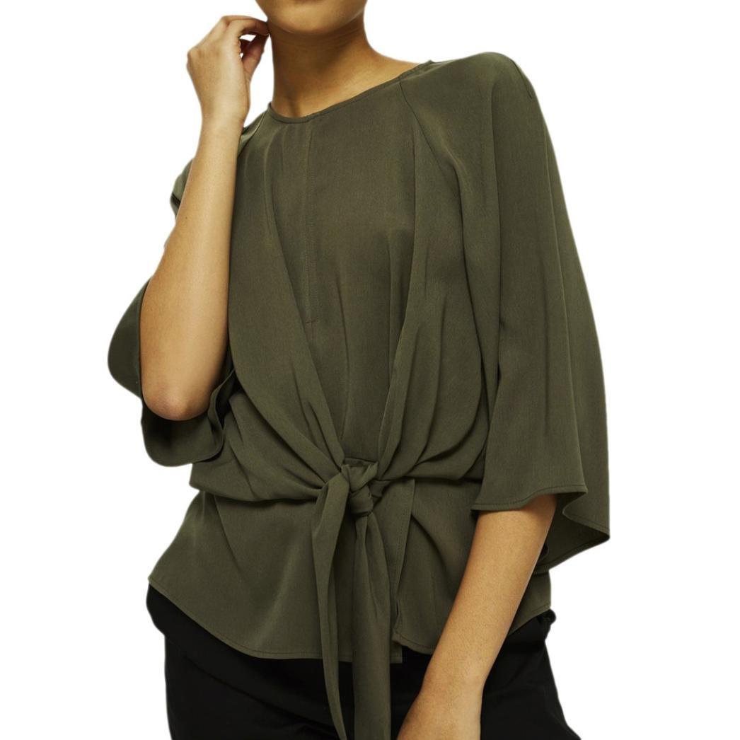 Spbamboo Womens Ladies Summer Half Sleeve OL Shirt Casual Tie Loose Tops Blouse