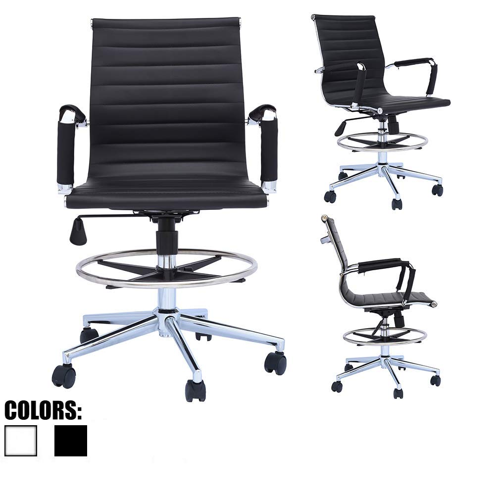 2xhome - Modern Ergonomic PU Leather Mid Back Ribbed Drafting Office Chair with Chrome Armrest Foot Rest Tiltable Seat Rolling Chair Black