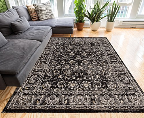 (Well Woven Essex Charcoal Grey & Beige Vintage Traditional Persian Oriental Sarouk Area Rug 8 x 10 (7'10