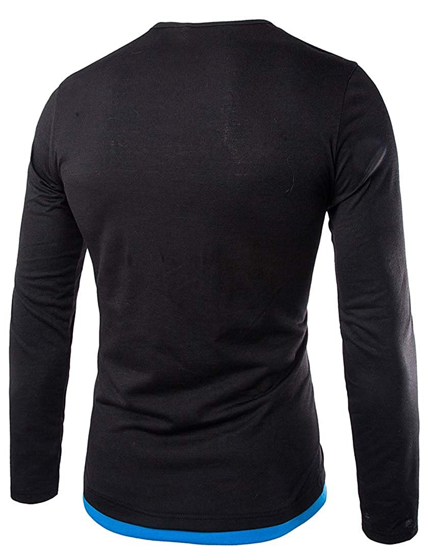 Nidicus Mens Contrast Double Button Long-Sleeve Slim Fit Henley T-Shirts