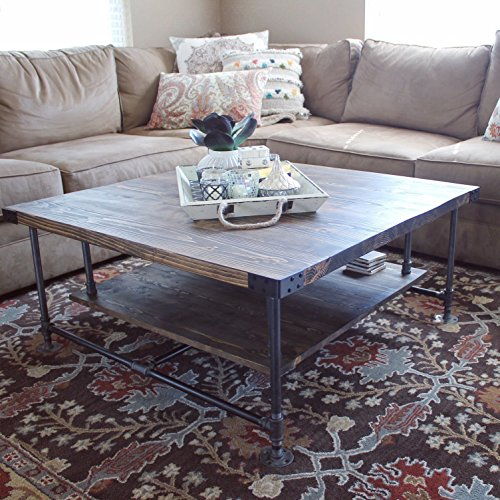 Rustic Coffee Table, Industrial Coffee Table, End Table, Ships from Detroit, Michigan