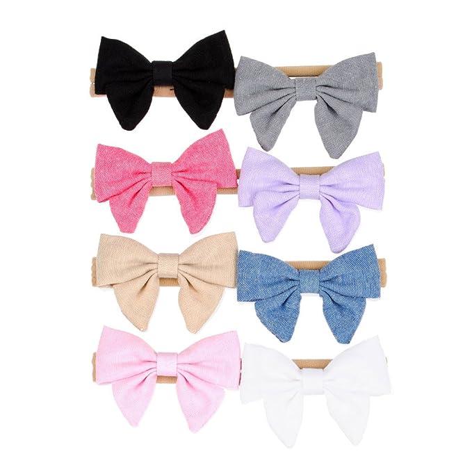 Fabric Bow Headband Soft Nylon Band Handmade Fabric Hair Bow for Infants  Hairwear Pack of 8pcs f1b4b6d6f72