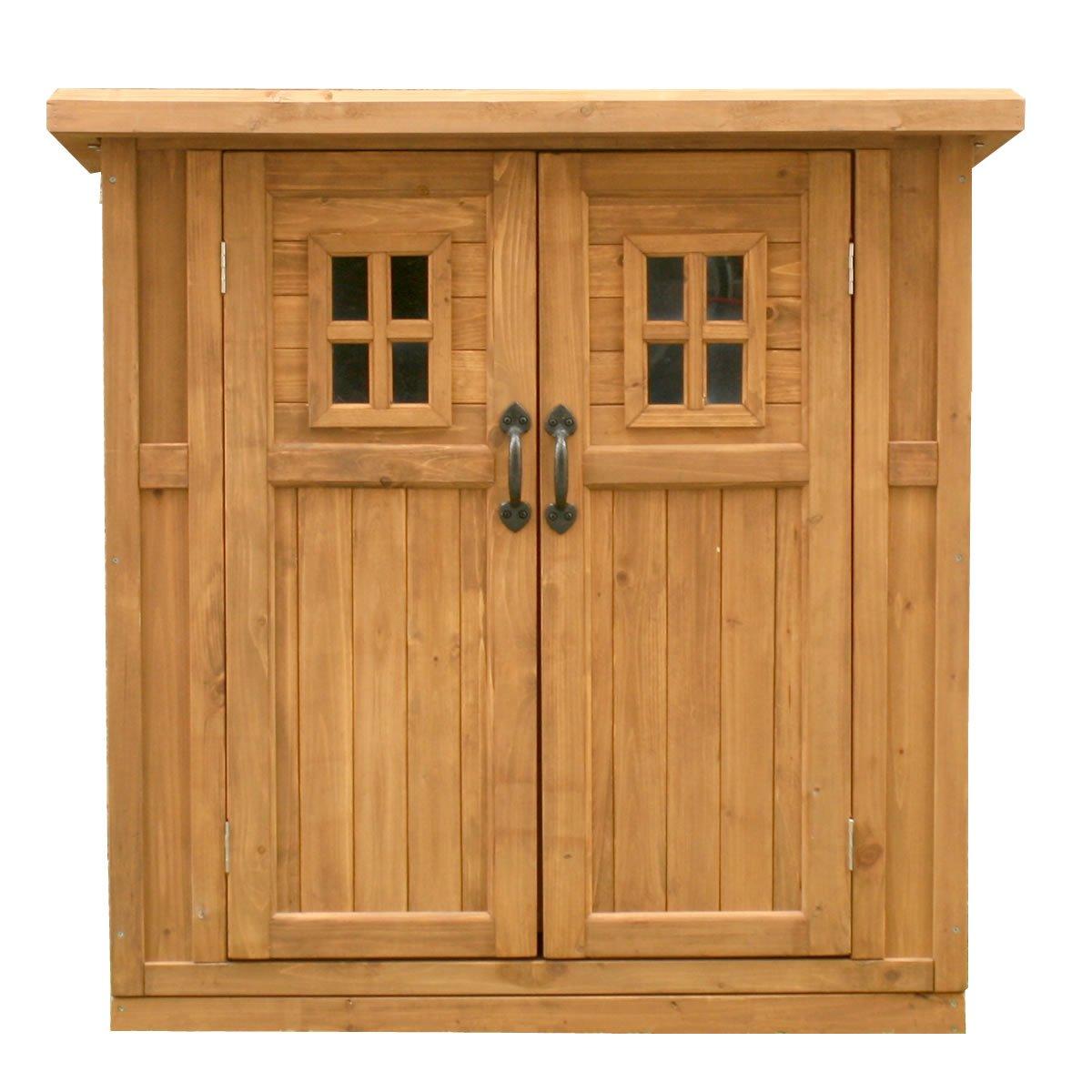 AHEART 物置 木製 小型 屋外 物置小屋 収納庫 天然木 ガーデニング SI 391 ライトブラウン B07DCMCYJ8  ライトブラウン