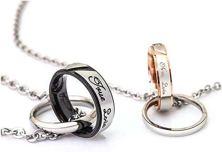 Women//Men Jewelry Silver Chain Couple Necklace Ring Pendant Titanium Steel