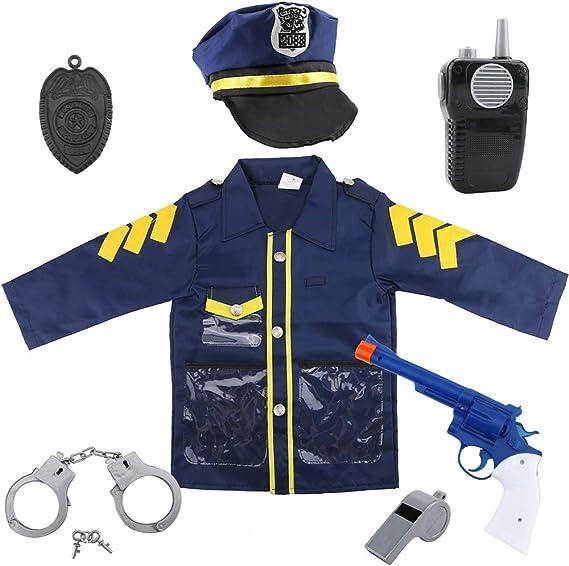 Uniforme de policía para niños de 7 piezas oficial de policía disfraz juego de rol Kit con sombrero, chaleco, esposas, insignia de policía, máquina de llamadas, pistola, ideal para disfraz de Halloween,
