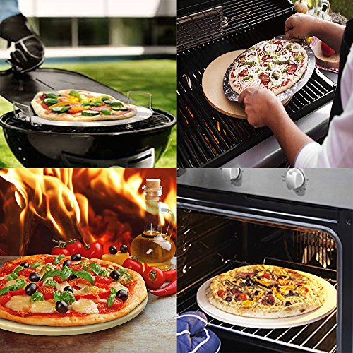 Pizza Stone for Oven 15 x 3/5'' BBQ Baking Stone Round Grilling Ceramic Pan with Cutter Handle Set, 15X3/5'' by GOVOG (Image #3)