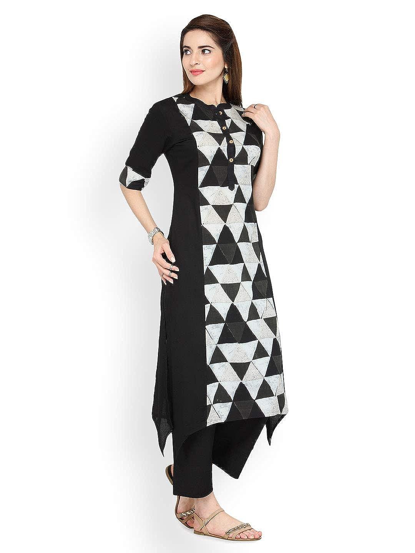 00172f34b7dc4 Amazon.com: Hiral Designer mall Indian Womens Black & Off-White ...
