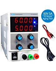 LETOUR Variable DC Power Supply 60V 5A Regulated Power mA Display 605D Adjustable Power Supply 300W Foot Power Low Noise with Alligator Cable and AC 110V Power Cord