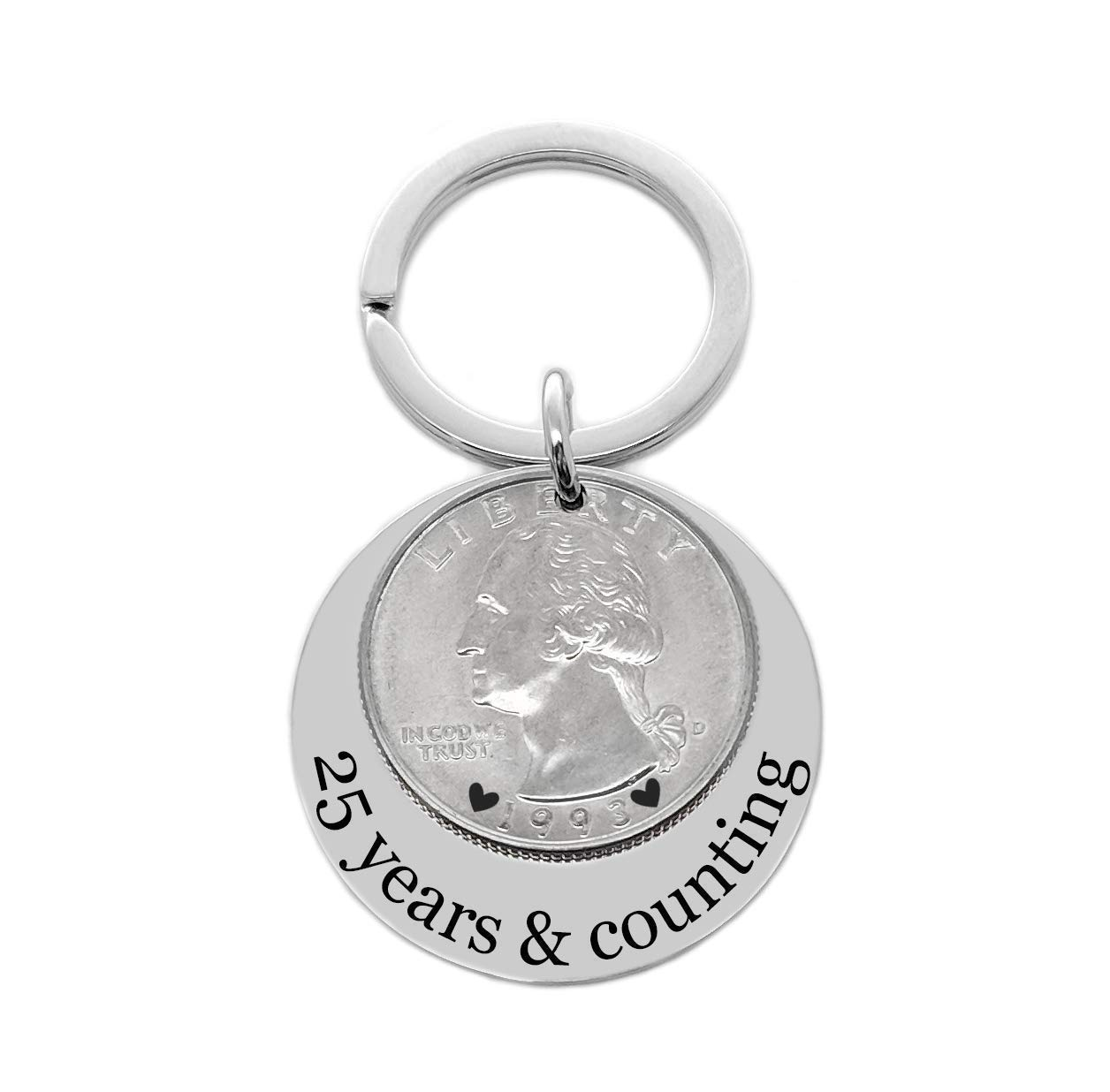25 years and counting 25th anniversary gift 1994 silver quarter key chain