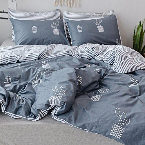 PinkMemory Queen Duvet Cover Cotton Bedding Set Gray Reversible Cactus Printing Stripe Design, Comfy,Zipper Closure,4 Corners Ties-Cactus,Queen
