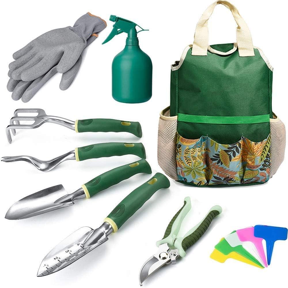 WOHOUS Garden Tool Set, 9 Piece Stainless Steel Heavy Duty Garden Tools Set with Storage Bag, Garden Gloves,Shovels,Weeder, Rake, Trowel, Sprayer,Plant Labels, Gardening Tools for Women and Men