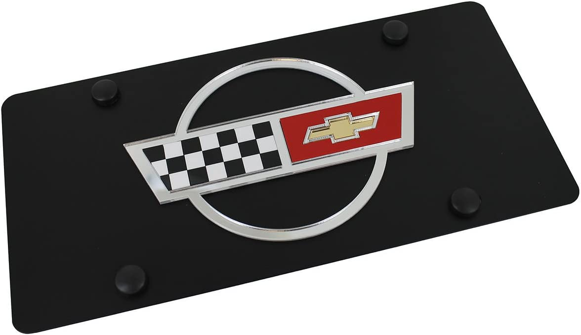 Chevrolet Corvette C3 Logo On Carbon Stainless Steel License Plate