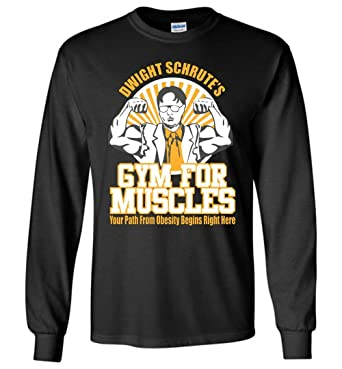 00ee0e54 TSHIRTAMAZING Dwight Schrute Gym for Muscles Long Sleeve Adult and Youth  Size Black