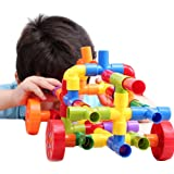 Bebamour 72pcs Tubation with Wheels Construction Building Interlocking Set - Montessori Games Toys Pipeworks Construction Building Blocks