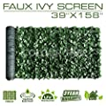 ColourTree Artificial Hedges Faux Ivy Leaves Fence Privacy Screen Panels ?Decorative Trellis - Mesh Backing - 3 Years Full Warranty