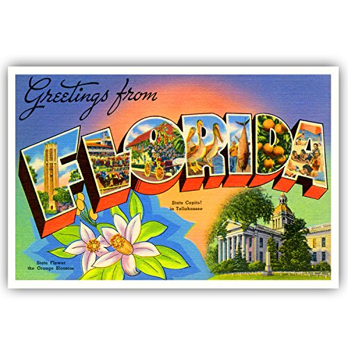 GREETINGS FROM FLORIDA vintage reprint postcard set of 20 identical postcards. Large letter US state name post card pack (ca. 1930's-1940's). Made in USA.