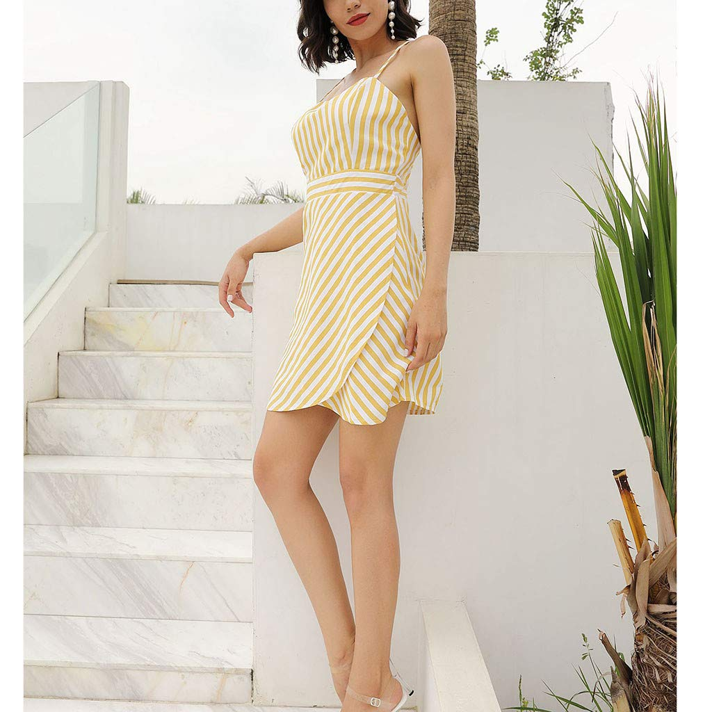 Women Stripe Cami Dress - Ladies Boat Neck Sleeveless Spaghetti High Waist Mini Dresses - Elegant Back Crisscross Beach Daily Clothes (L, Yellow) by Leadmall Dress (Image #4)