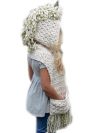 Arkind Bonnet de Laine Tricote Licorne Ensemble Bonnet Echarpe Hiver pour  Enfant Unisexe 3 à 10 4db40d5aacb