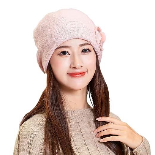 Women Winter Warm Bow Cap Beret Braided Baggy Knit Crochet Beanie Hat Ski  Cap(Pink adde26b54843