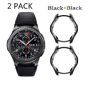 SUPORE Carcasa para Smartwatch Gear S3 SM-R760, a Prueba de Golpes y Suciedad, para Smartwatch Samsung Gear S3 Frontier SM-R760 (Negro 2)