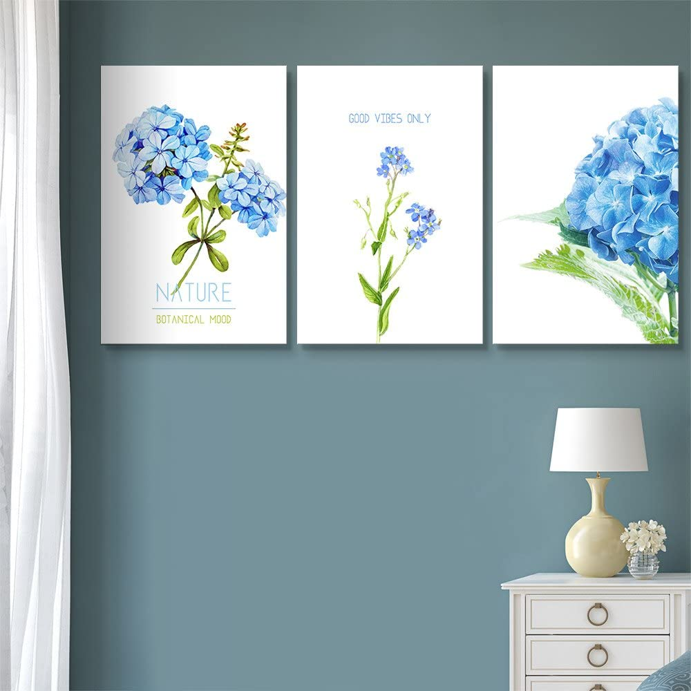 3 Panel Blue Flowers with Good Vibes Only Quotes x 3 Panels, Made For You, Alluring Design