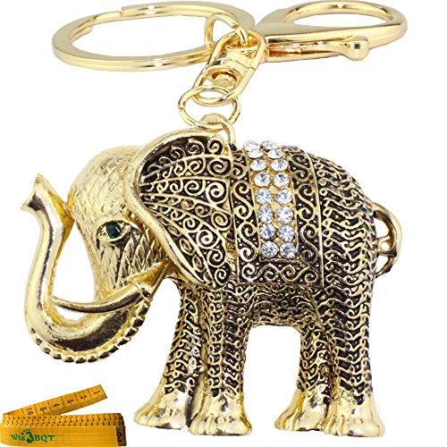 Bling Bling Crystal Rhinestone Graven 3D Cubic Metal Keychain Car Phone Purse Bag Decoration Holiday Gift Elephant (Golden)