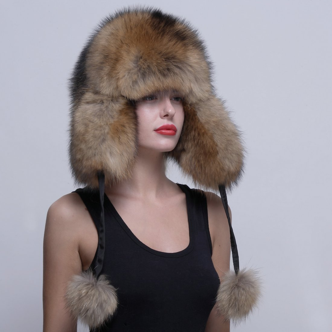 URSFUR Genuine Raccoon Fur Russian Ushanka Trapper Hat Cap with Fur Ball Pompom by URSFUR (Image #3)