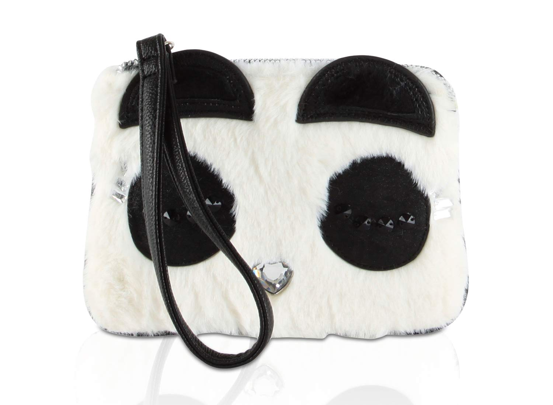 Betsey Johnson Faux Fur Kitch Panda Face Wristlet Coin Purse Pouch - Cream/Black