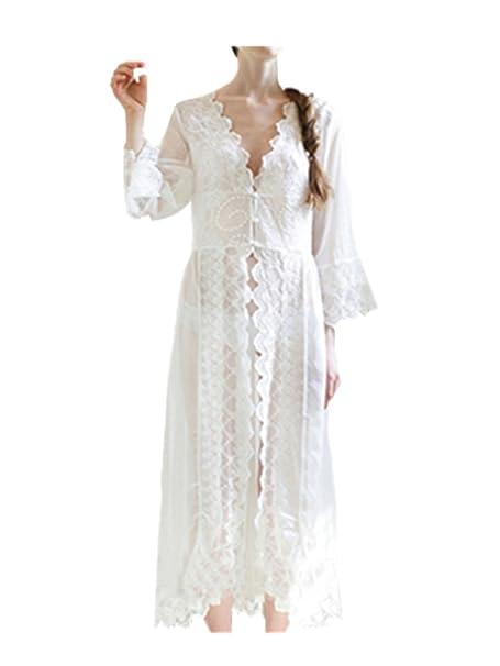 leright Mujer Encaje Babydoll Lencería noche de bodas novia Sheer Sexy ropa de dormir blanco blanco