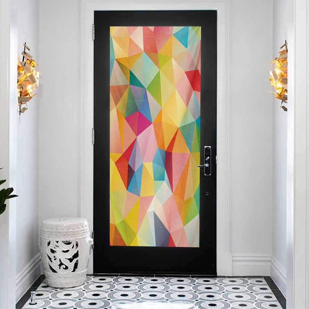 Amazon Com 3d Door Sticker Wall Decals Mural Wallpaper Geometric Polygonal Arrangement With Colorful Abstract Trian Home Decoration Self Adhesive Removable Art Door Decals W35 4 X L78 7 Inch Baby