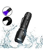 Linterna LED Luz UV y Blanco 2 en 1,AveDistante Linterna Ultravioleta Recargable Linterna Tácticas con Funcion de Agrandar y Enfocar 5 Modos para Lluminación Detectar Orina de Mascotas,Ciclismo,Camping, Flashlight 1000 Lúmenes Incluida Pila AAA