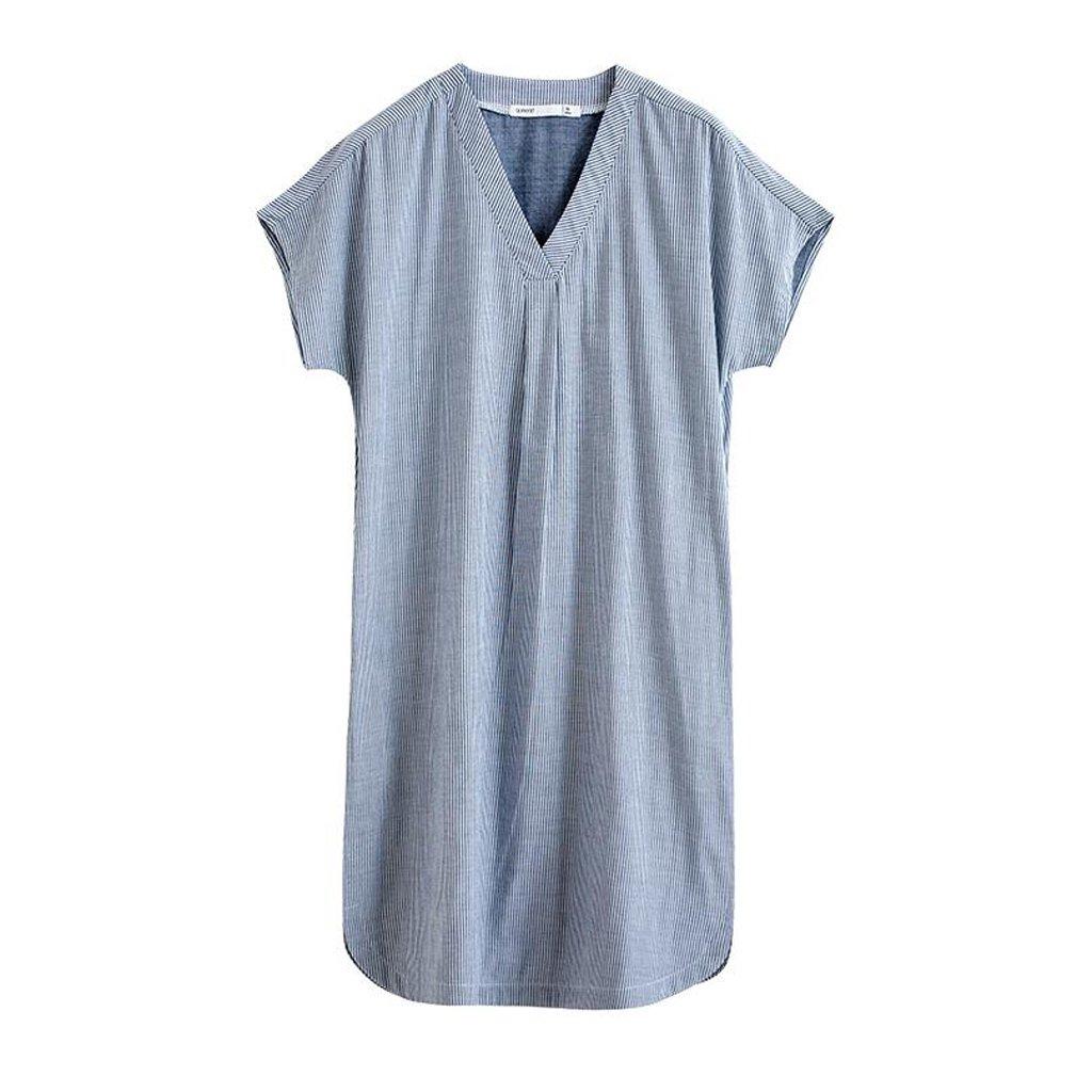 GAODUZI 春と夏新しいパジャマストライプコットンドレス半袖夜間女性ゆるいシンプルなV首輪のホームスリーピングスカート S s 青 B07DZ88XB8