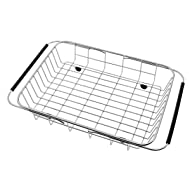 GTHUNDER Over Sink Basket Dish Drying Rack Stainless steel Kitchen organizer Strainer Dish Drainer with Adjustable Arms Holder Drying Organizer for Vegetable Fruit