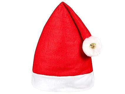 Set di 12 Cappelli da Babbo Natale con 2 Pon Pon e 2 campanellini ... 994be5e4d2eb