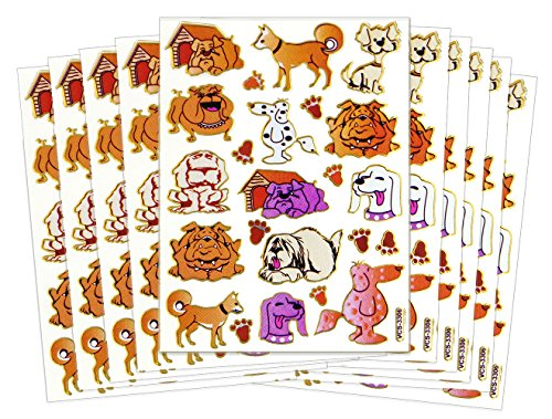 ST-DOGTOON - 10 Sheets Cute Dog Sticker Self-adhesive Glitter Metallic Foil Reflective Sticker Decorative Scrapbook for Kid, Birthday, Photo, Card, Diary, (Tiny Happy Puppy)