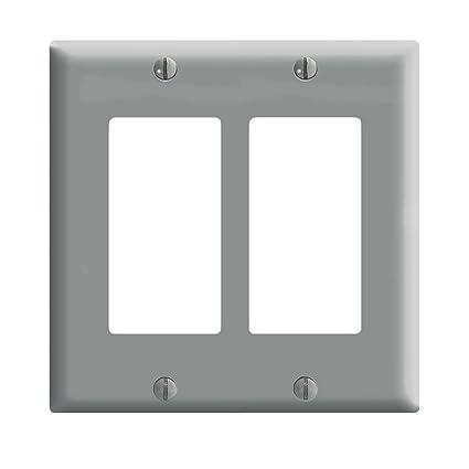 Leviton 80409 Gy Decora Wall Plate 2 Gang Grey Switch Plates