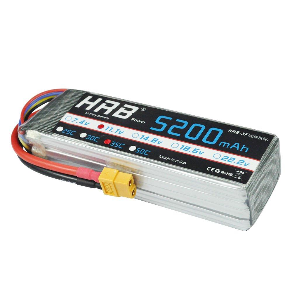 HRB LiPo Batterie 3S 5200mAh 11.1V 35C XT90 Plug pour modèles réduits avec circuit RC, notamment voitures de course, hélicoptères