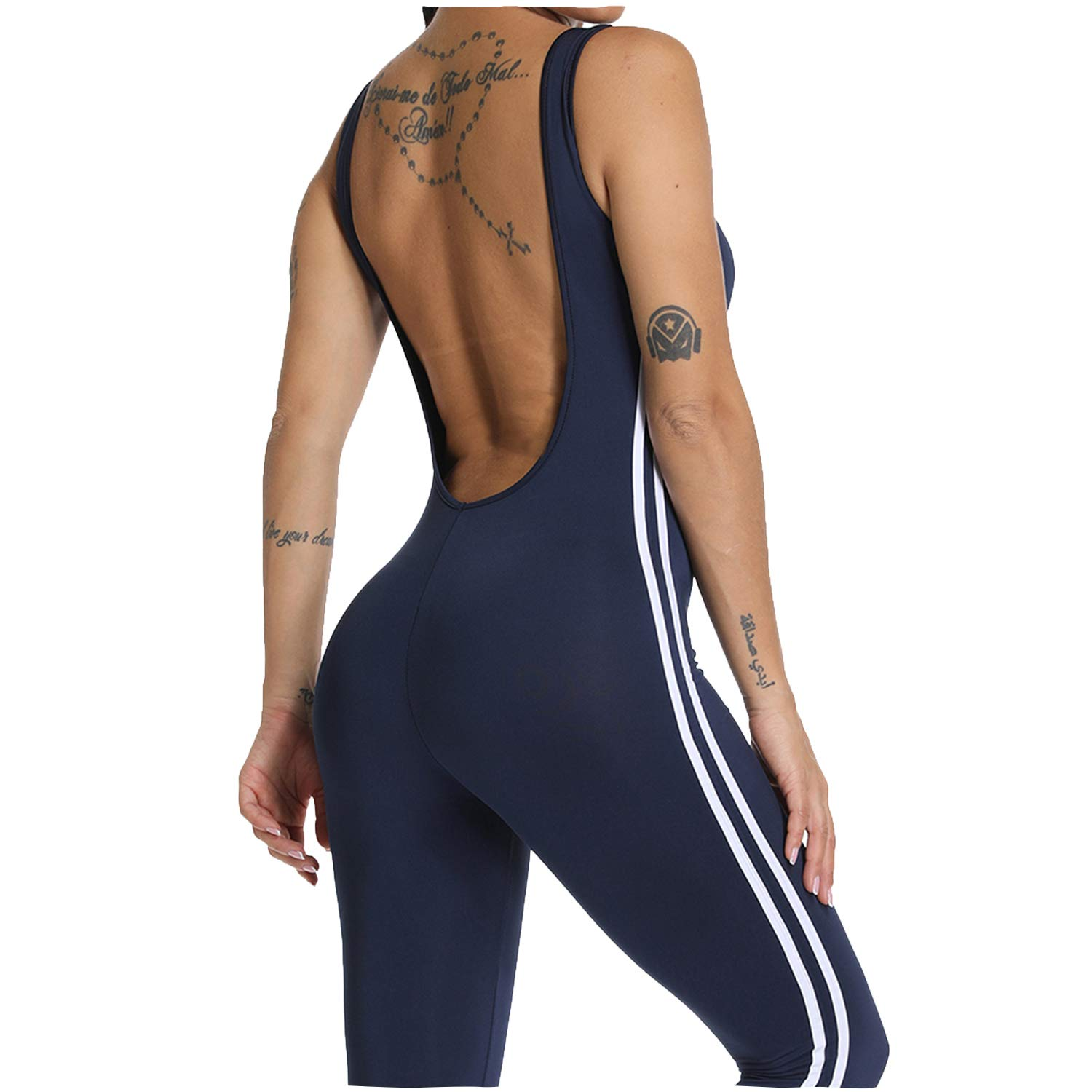 1 bluee YOFIT Women Sexy Jumpsuits Athletic Clothes LowCut Back Yoga Rompers Sleeveless Bodysuit