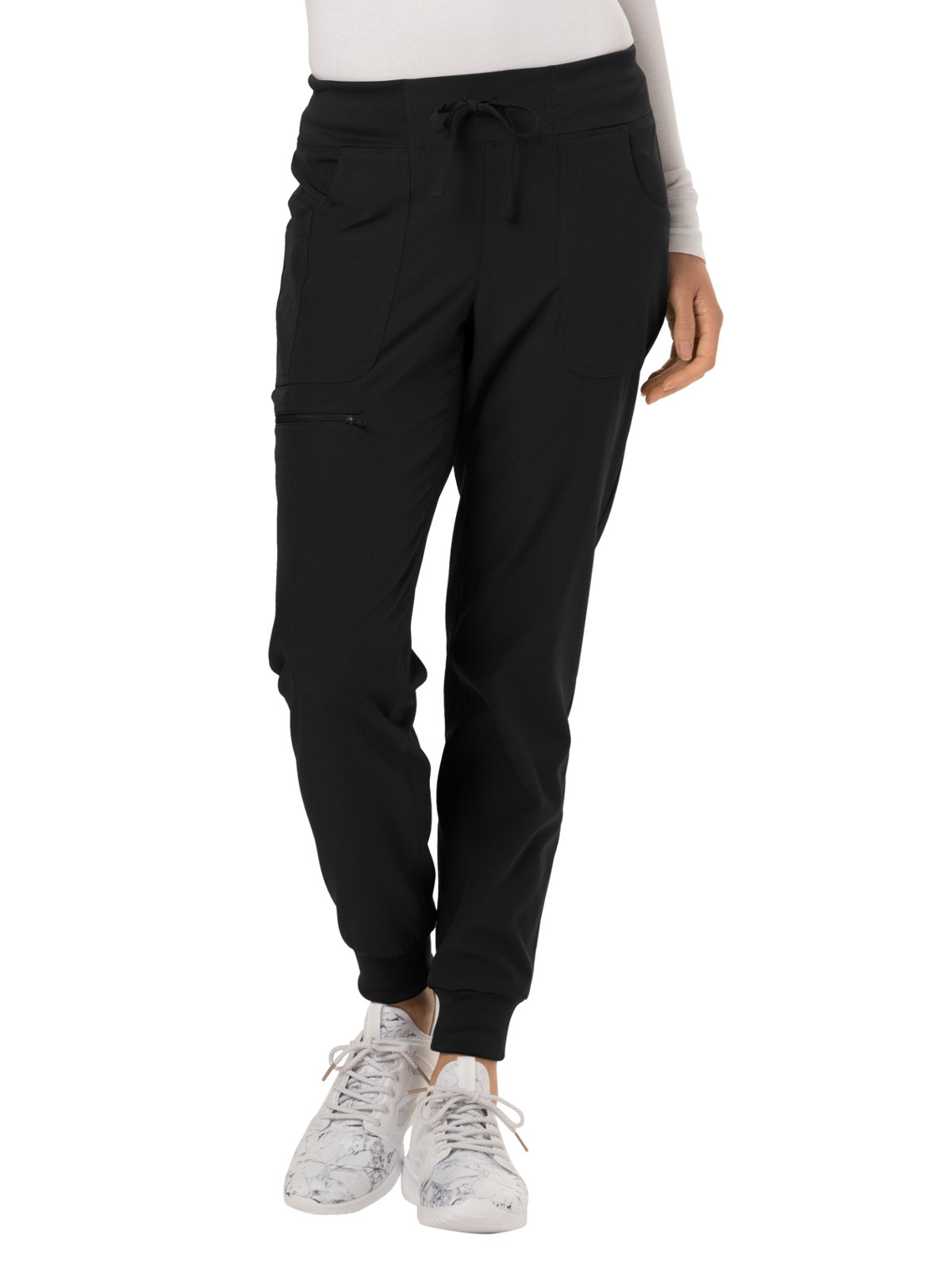 HeartSoul Break On Through by Women's The Jogger Low Rise Tapered Leg Scrub Pant X-Small Petite Black