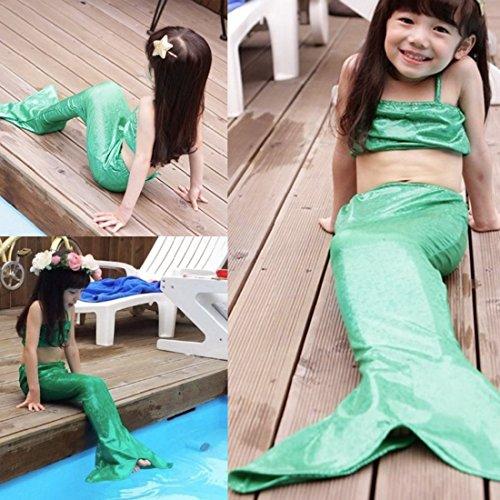 Lovely Little Girls Mermaid Swimsuit Bikini Swimwear 3pcs Set (120(4-5T), Green)