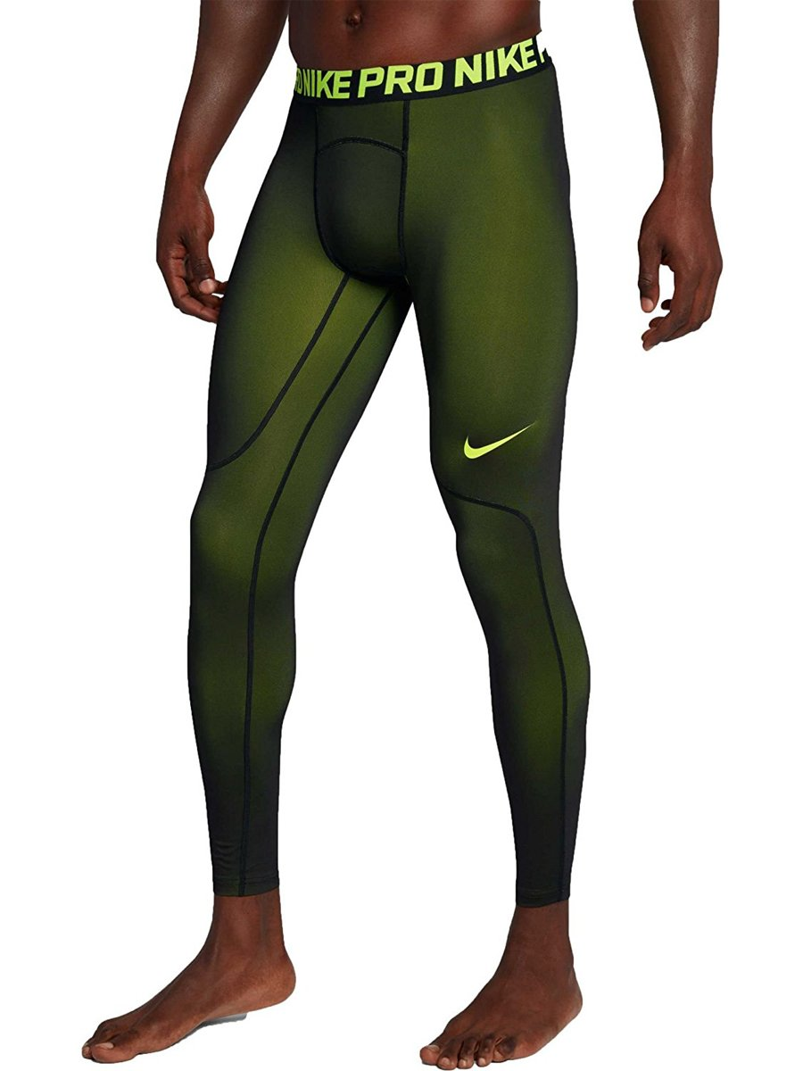 Nike Mens Three Quarter Colorburst Tights (Volt/Black, L) Large Volt/Black by Nike