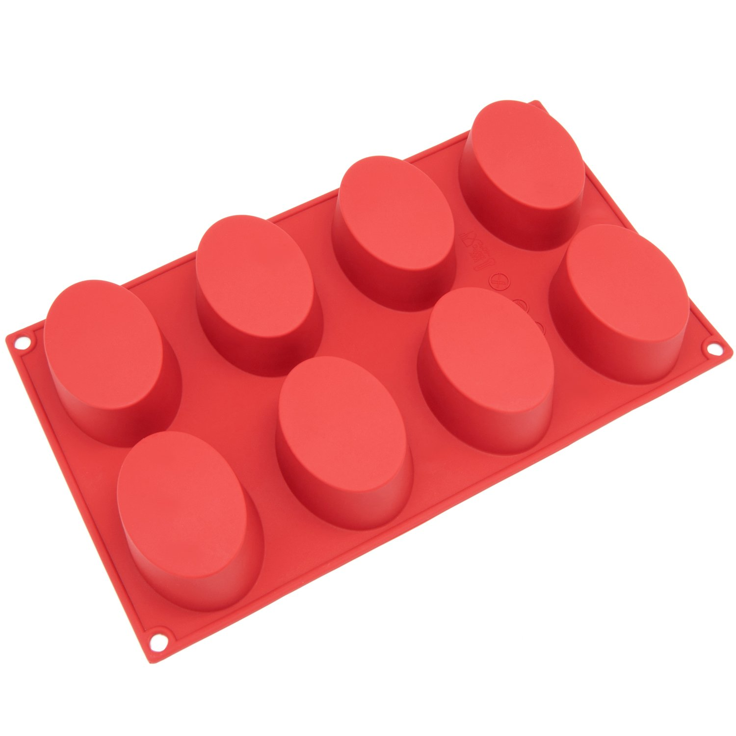 Freshware SL-118RD 8-Cavity Oval Silicone Mold for Soap, Cake, Bread, Cupcake, Cheesecake, Cornbread, Muffin, Brownie, and More