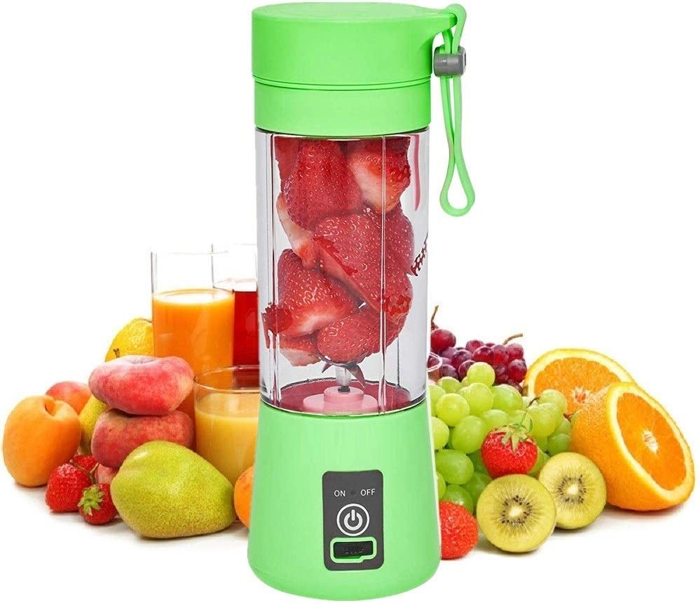 SANSHAAC Portable Blender, 380ml Six 3D Juice cup, Personal Mixer Fruit Rechargeable with USB, Mini Blender for Milk Shakes, Smoothie, Fruit Juice (green)