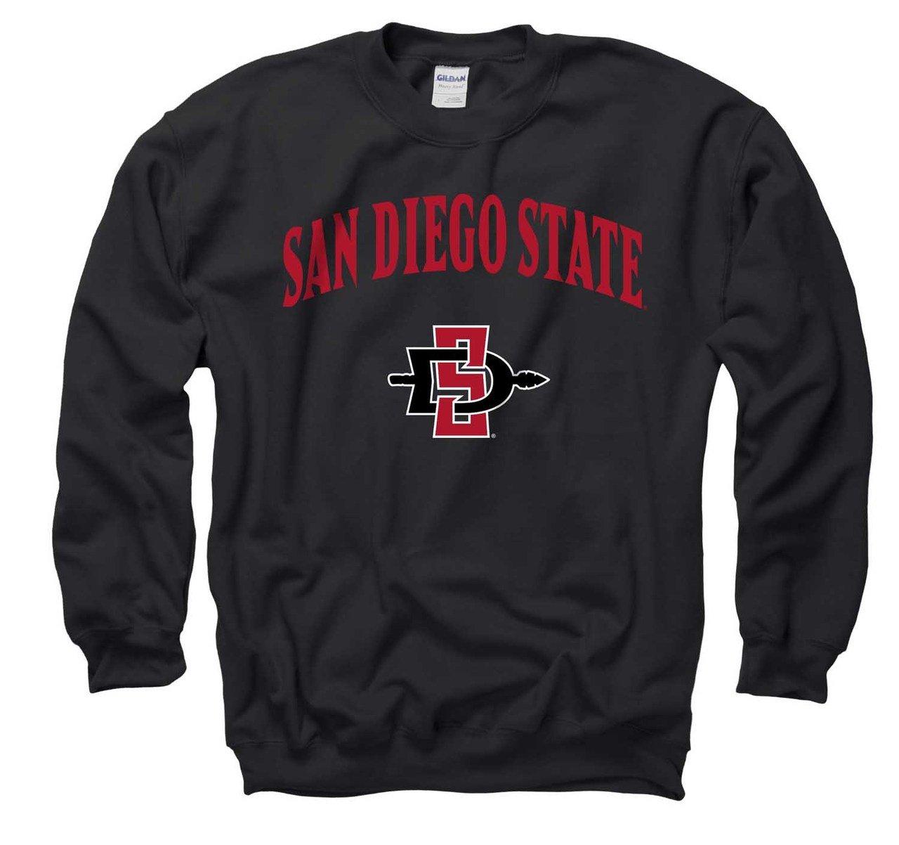 Campus Colors San Diego State Aztecs Arch Logo Gameday Crewneck Sweatshirt Black